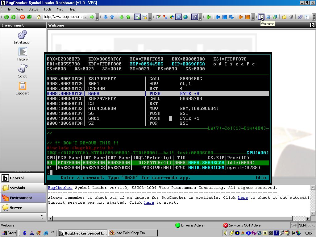 BugChecker doing trace in the HAL code on a SMP machine.