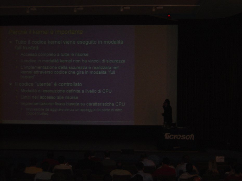 Me at the Microsoft Security Roadshow 2006 in Treviso. This is a moment of the 3-hours session